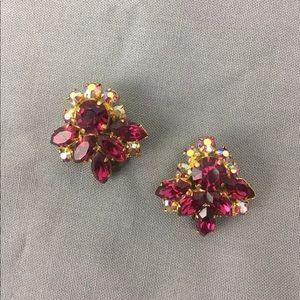 Vintage Austrian Crystal Rhinestone Clip Earrings